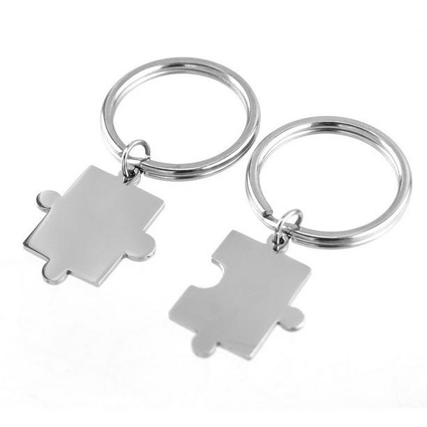 2 ks oceľových príveskov na kľúče - puzzle