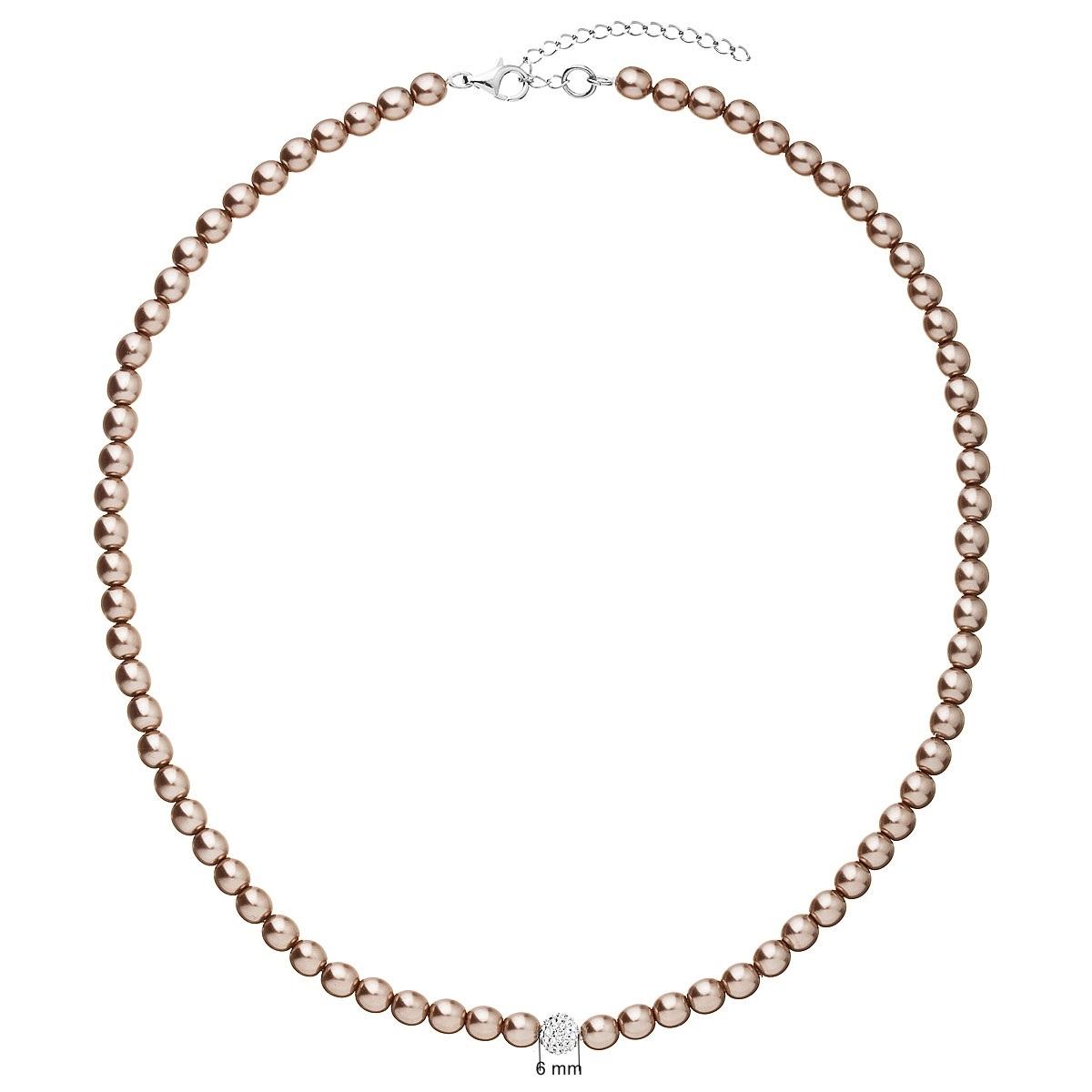 Perlový náhrdelník hnědý EG4227