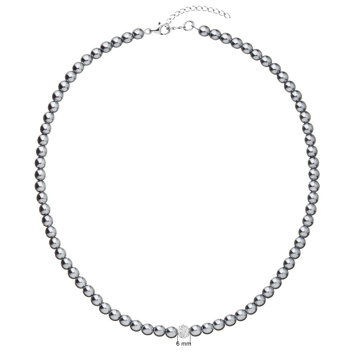 Perlový náhrdelník šedý EG4230