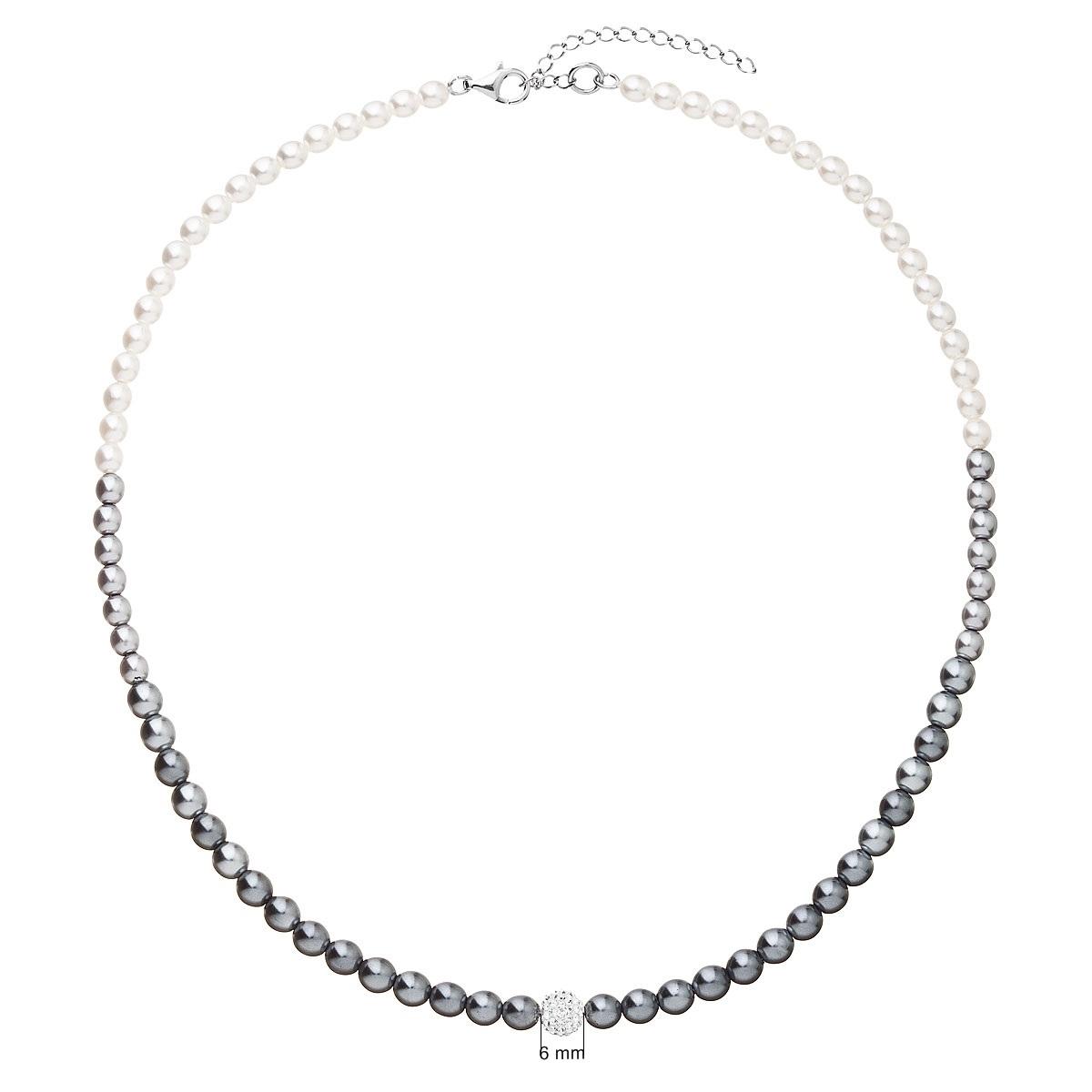 Perlový náhrdelník bílo-šedý EG4225