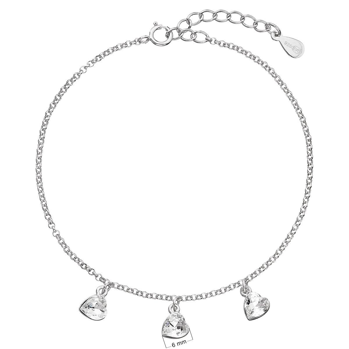 Stříbrný náramek se srdíčky Crystals from Swarovski® EG7049