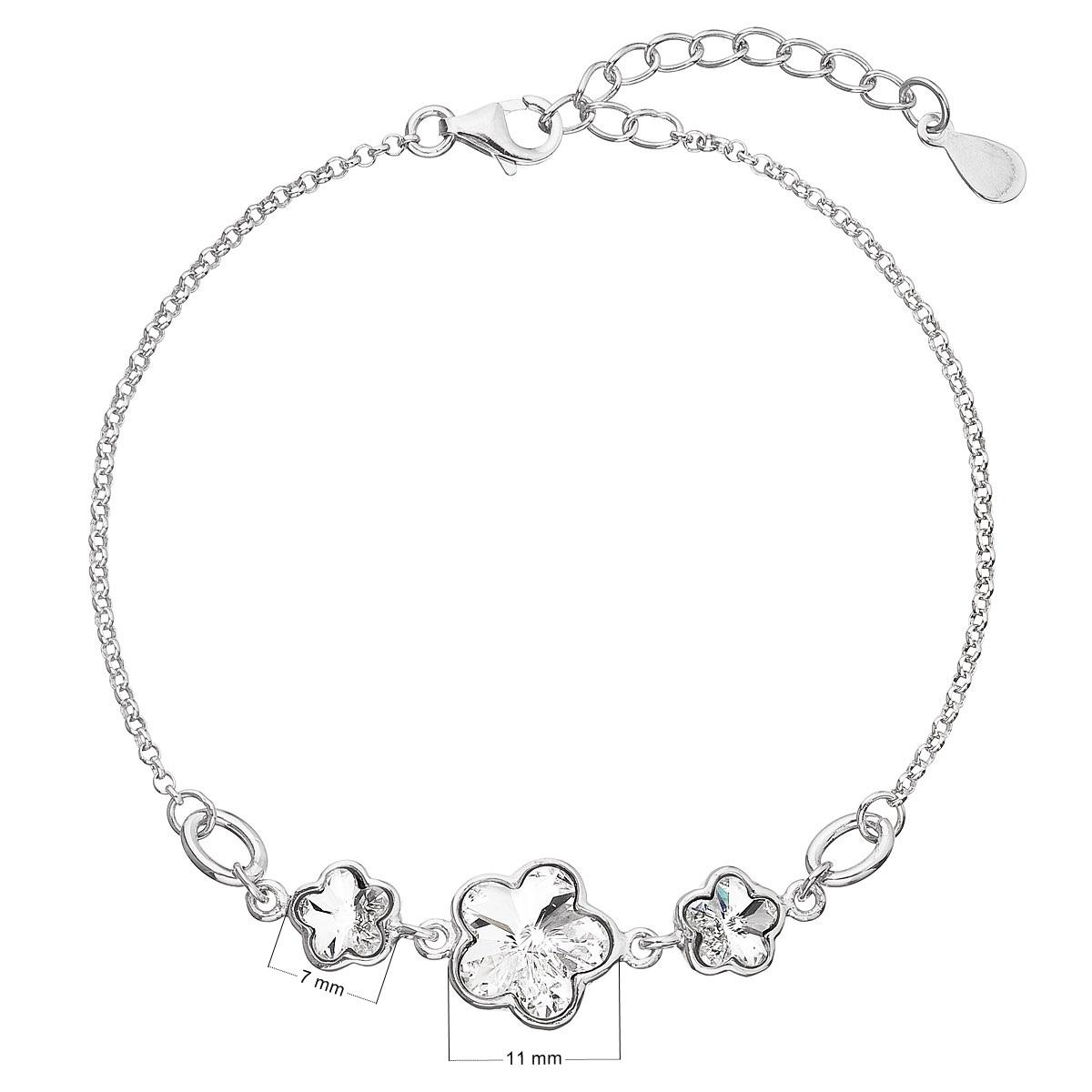 Strieborný náramok s kvietkami Crystals from Swarovski®Crystal