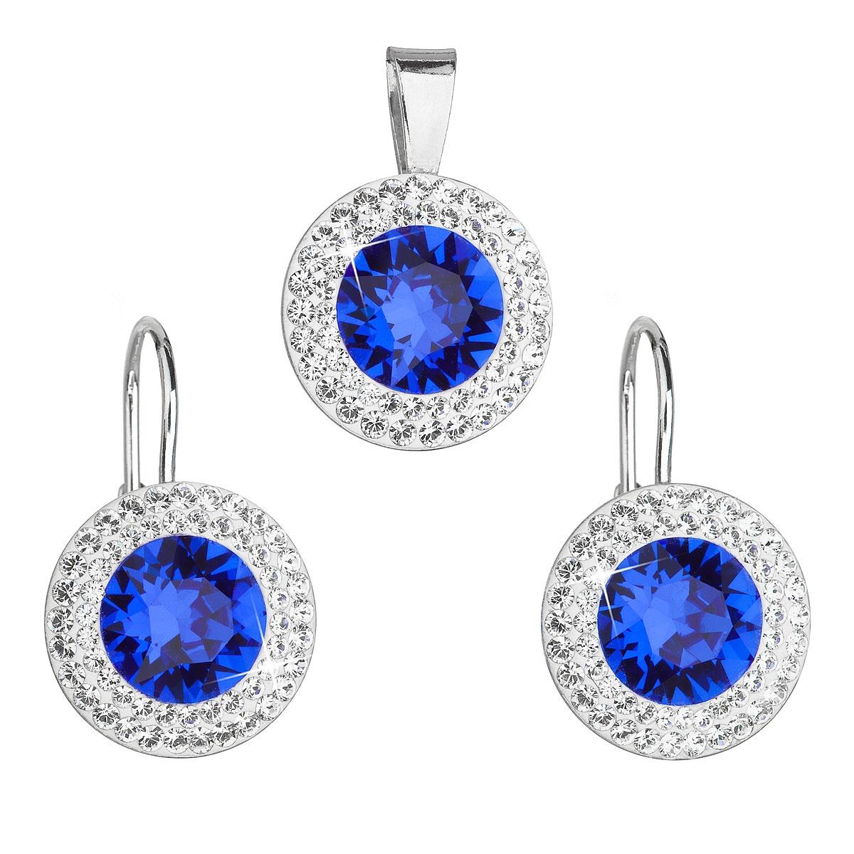 Stříbrná spouprava šperků Crystals from Swarovski® Majestic Blue