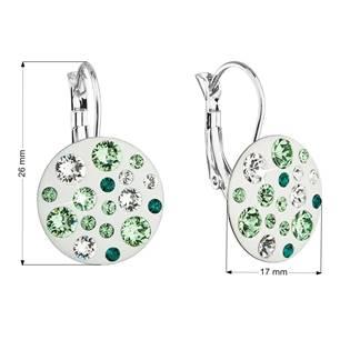 Náušnice bižuterie se Swarovski krystaly zelené kulaté