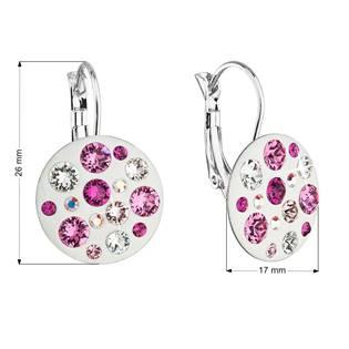 Náušnice bižuterie se Swarovski krystaly růžové kulaté