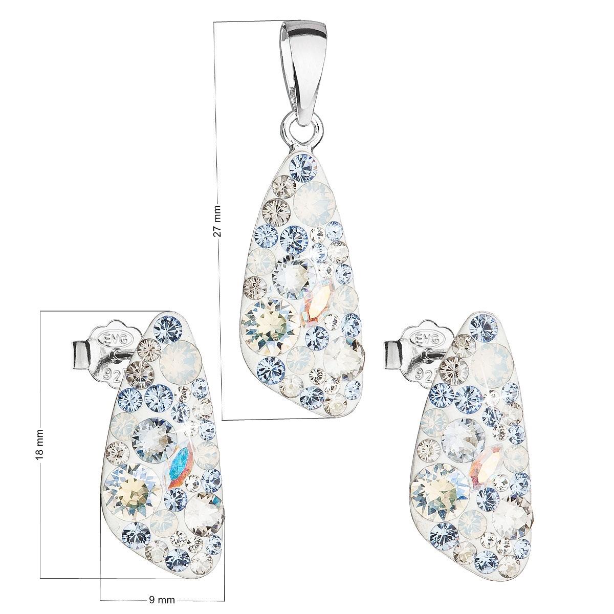 Sada šperkov s kryštálmi Swarovski náušnice a prívesok, Light Sapphire