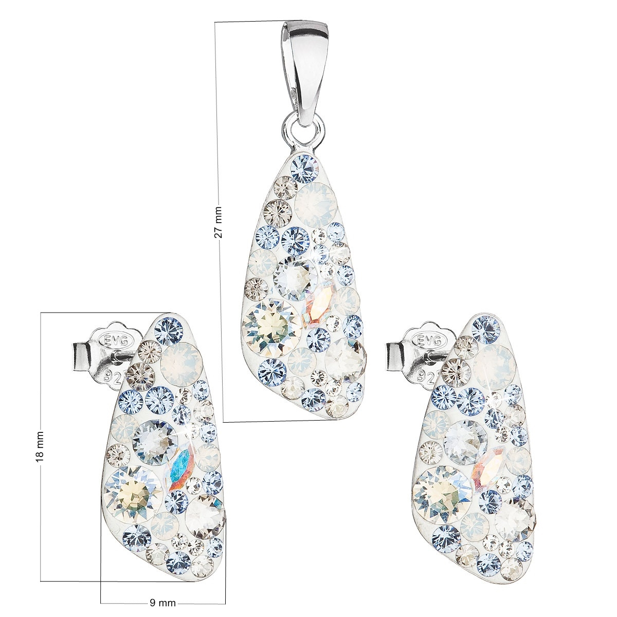 Stříbrná spouprava šperků Crystals from Swarovski® Light Sapphire
