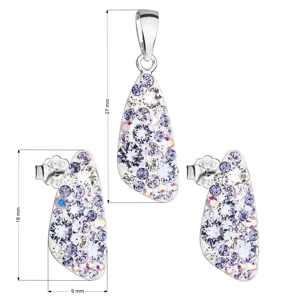 Stříbrná spouprava šperků Crystals from Swarovski® Violet