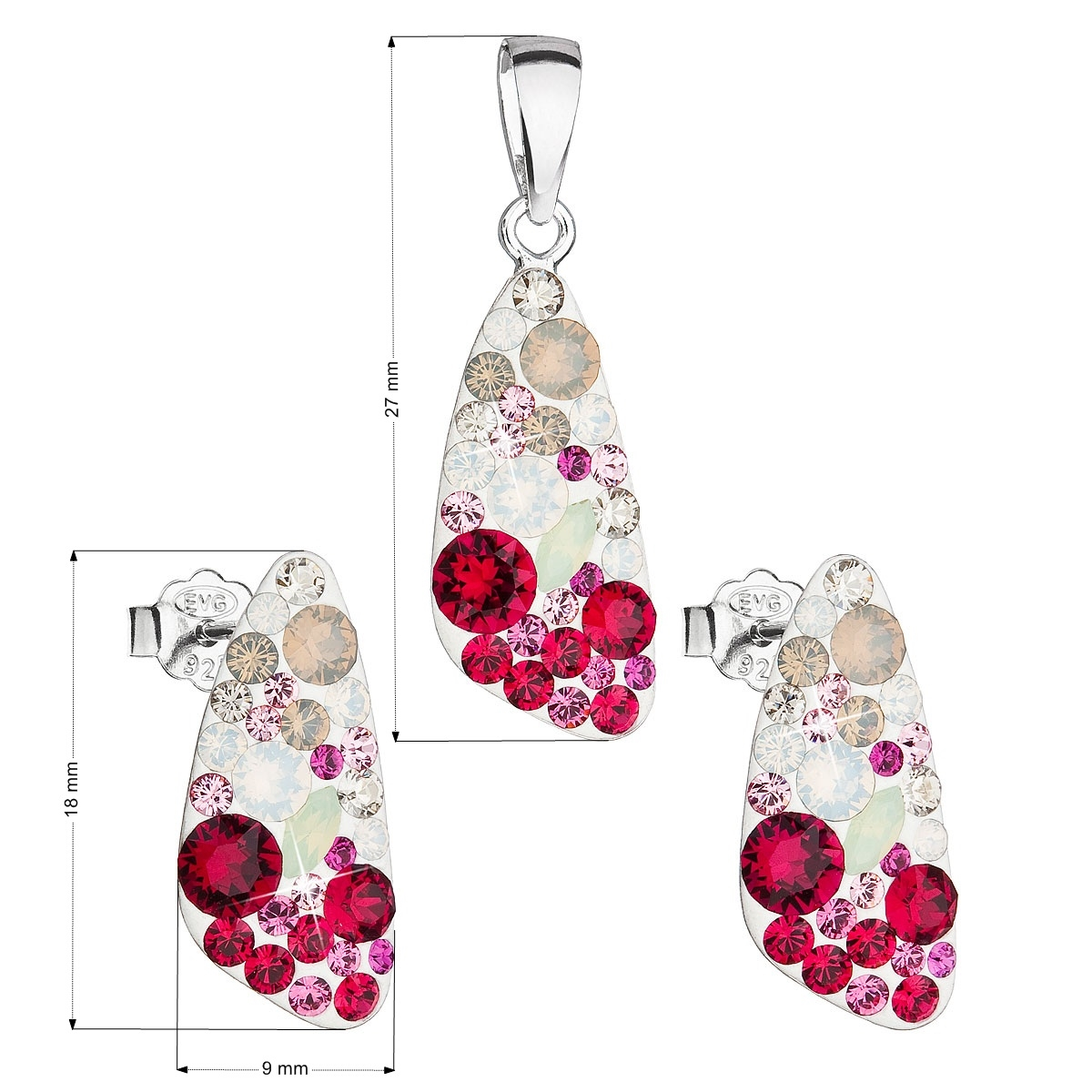 Stříbrná spouprava šperků Crystals from Swarovski® Sweet Love