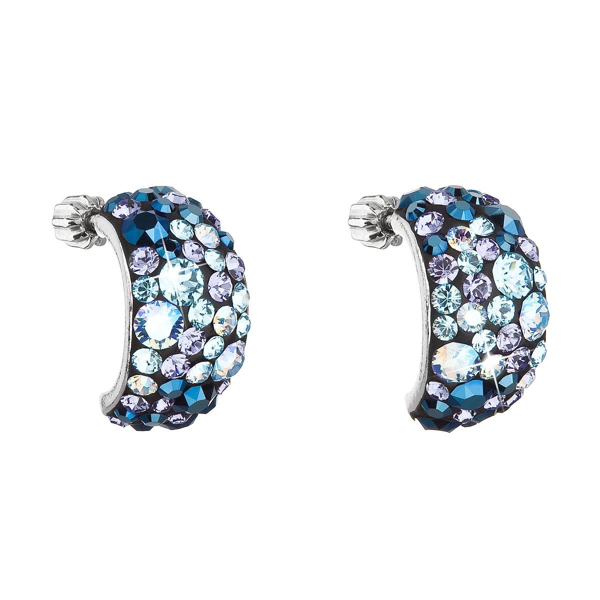 Stříbrné šroubovací náušnice s krystaly Crystals from Swarovski®, Blue Style EG2002-BS