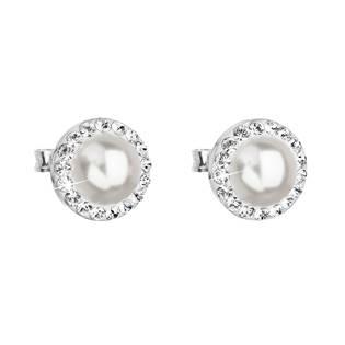 Stříbrné náušnice s perlami a kamínky Crystals from Swarovski® Crystal