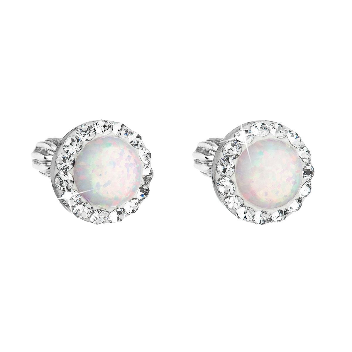 Náušnice s kamienkami Crystals from Swarovski ® a opály, White