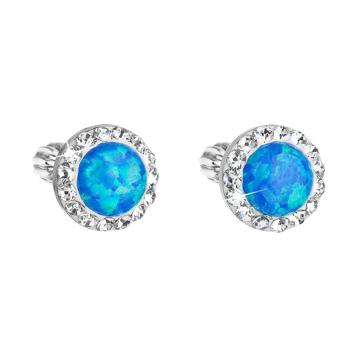 Náušnice s kamínky Crystals from Swarovski® a opály, Bluue