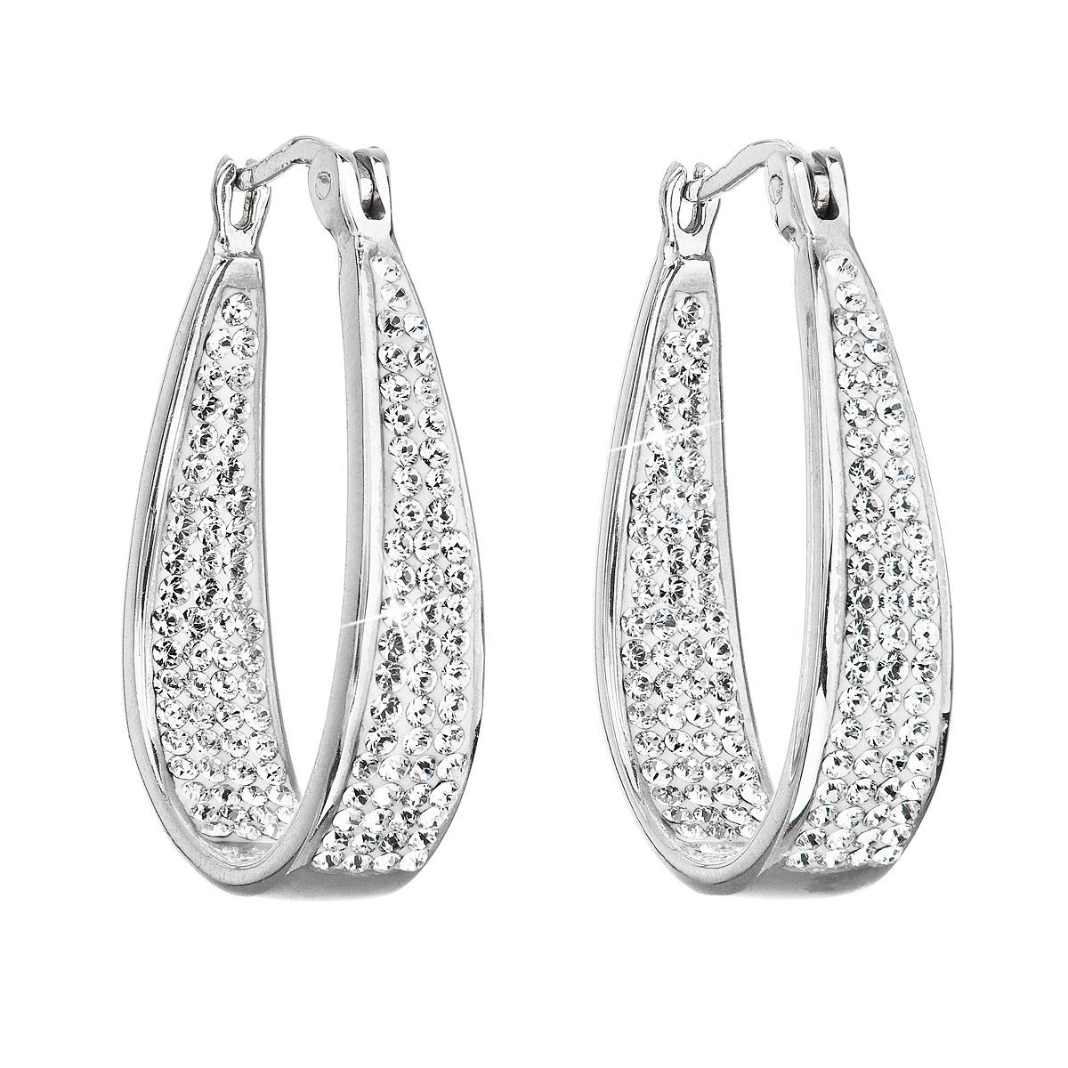 Stříbrné náušnice kruhy s krystaly Swarovski bílý kruh EG2089