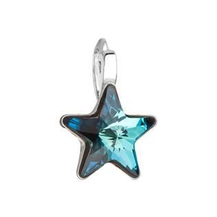 Stříbrný přívěšek hvězda s kamenem Crystals from Swarovski® Bermuda Blue