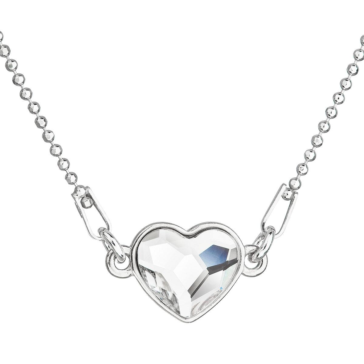 Stříbrný náhrdelník se srdíčkem Crystals from Swarovski® Crystal EG4045-CR