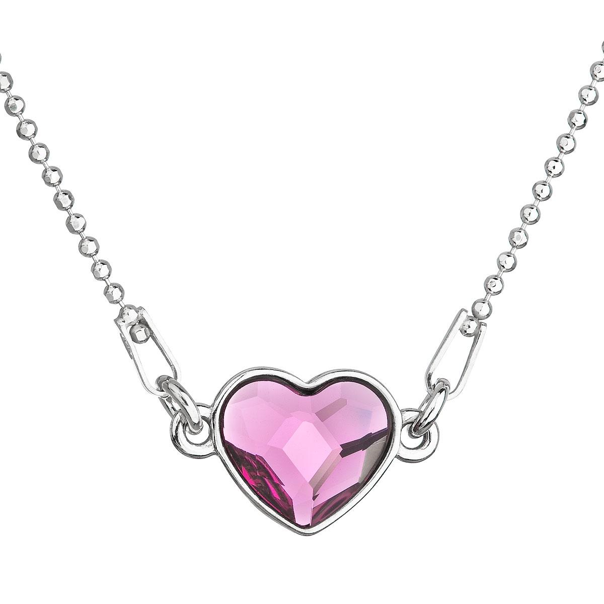 Stříbrný náhrdelník se srdíčkem Crystals from Swarovski® Fuchsia EG4045-F