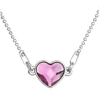 Stříbrný náhrdelník se srdíčkem Crystals from Swarovski® Fuchsia