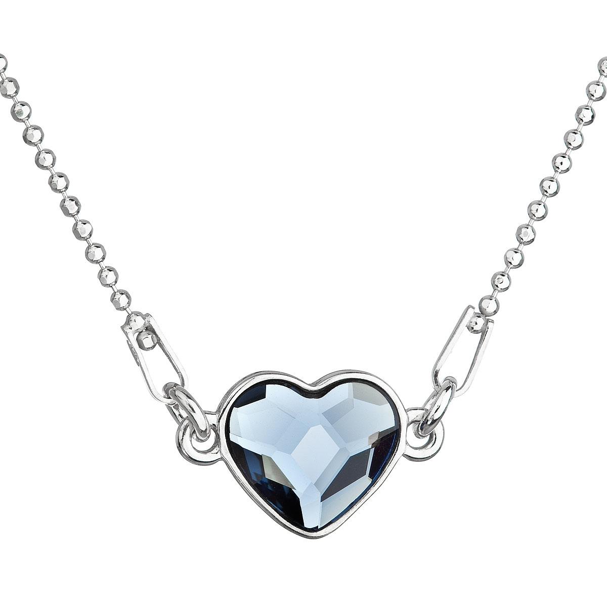 Stříbrný náhrdelník se srdíčkem Crystals from Swarovski® Denim Blue EG4045-DB