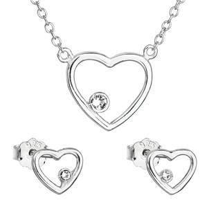 Stříbrná souprava šperků - srdce Crystals from Swarovski®