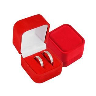Semišová dárková krabička na snubní prsteny - červená