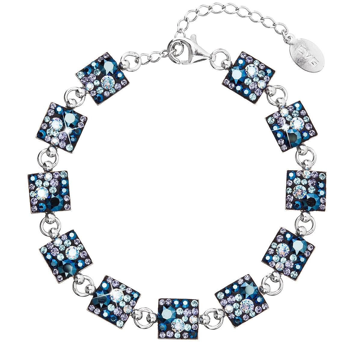 Strieborný náramok s kryštálmi Crystals from Swarovski ® Blue Style