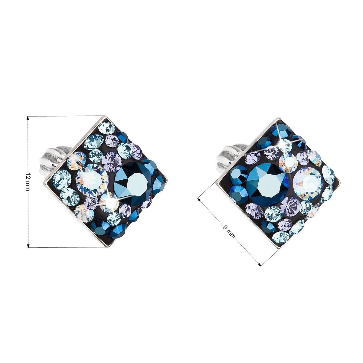 Stříbrné šroubovací náušnice s krystaly Crystals from Swarovski®, Blue Style EG2006-BS