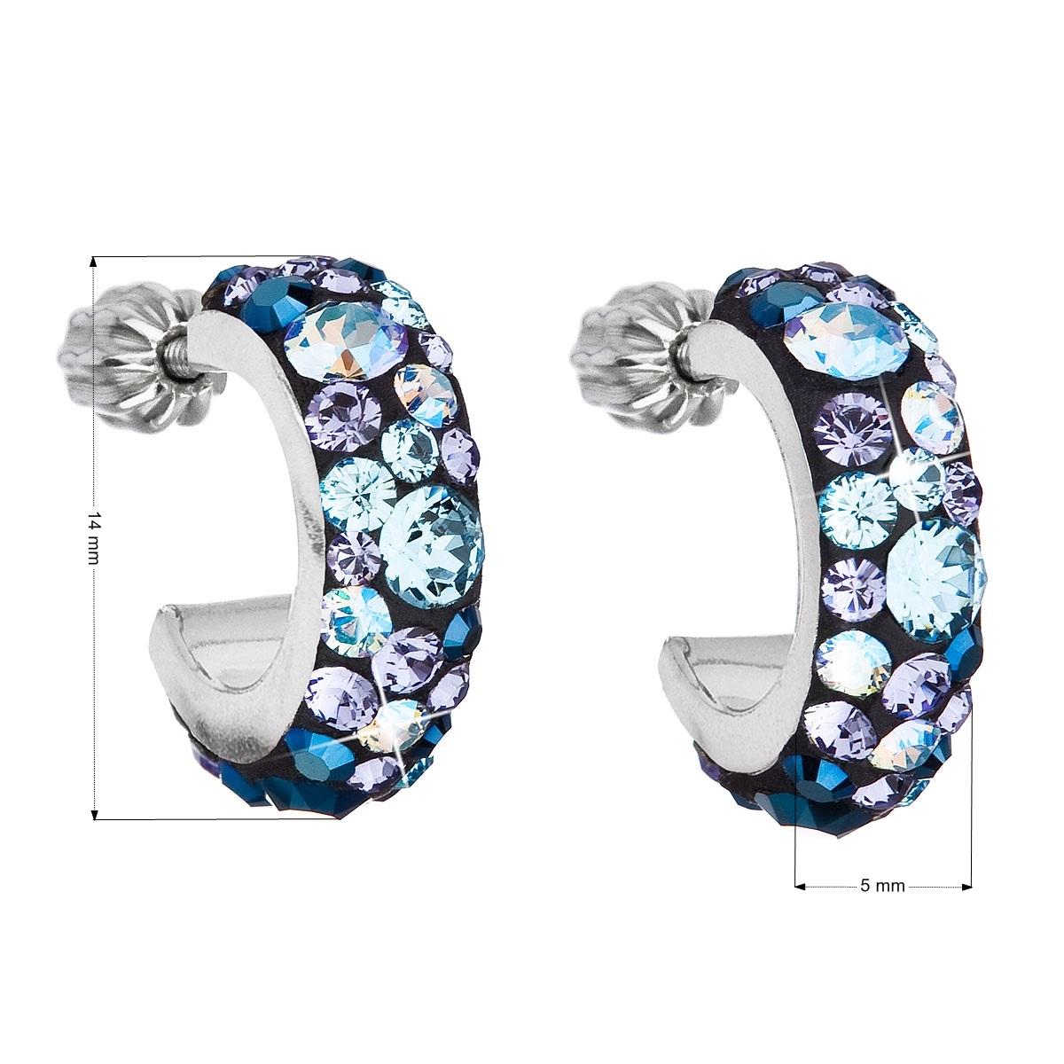Stříbrné náušnice kruhy s krystaly Crystals from Swarovski®, Blue Style EG2031-BS