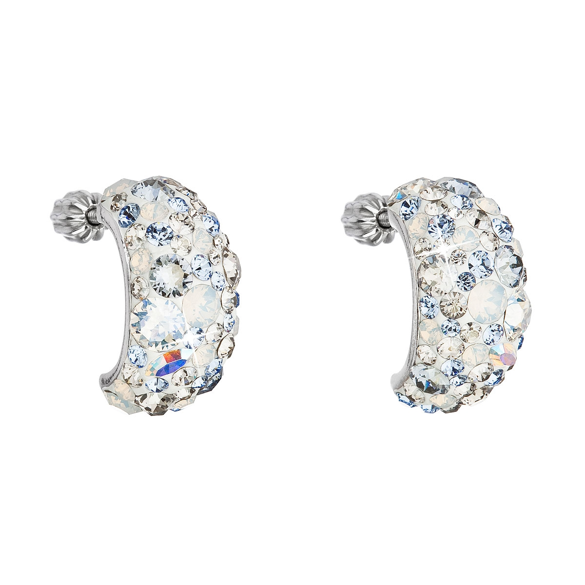 Stříbrné šroubovací náušnice s krystaly Crystals from Swarovski®, Light Sapphire EG2002-LS