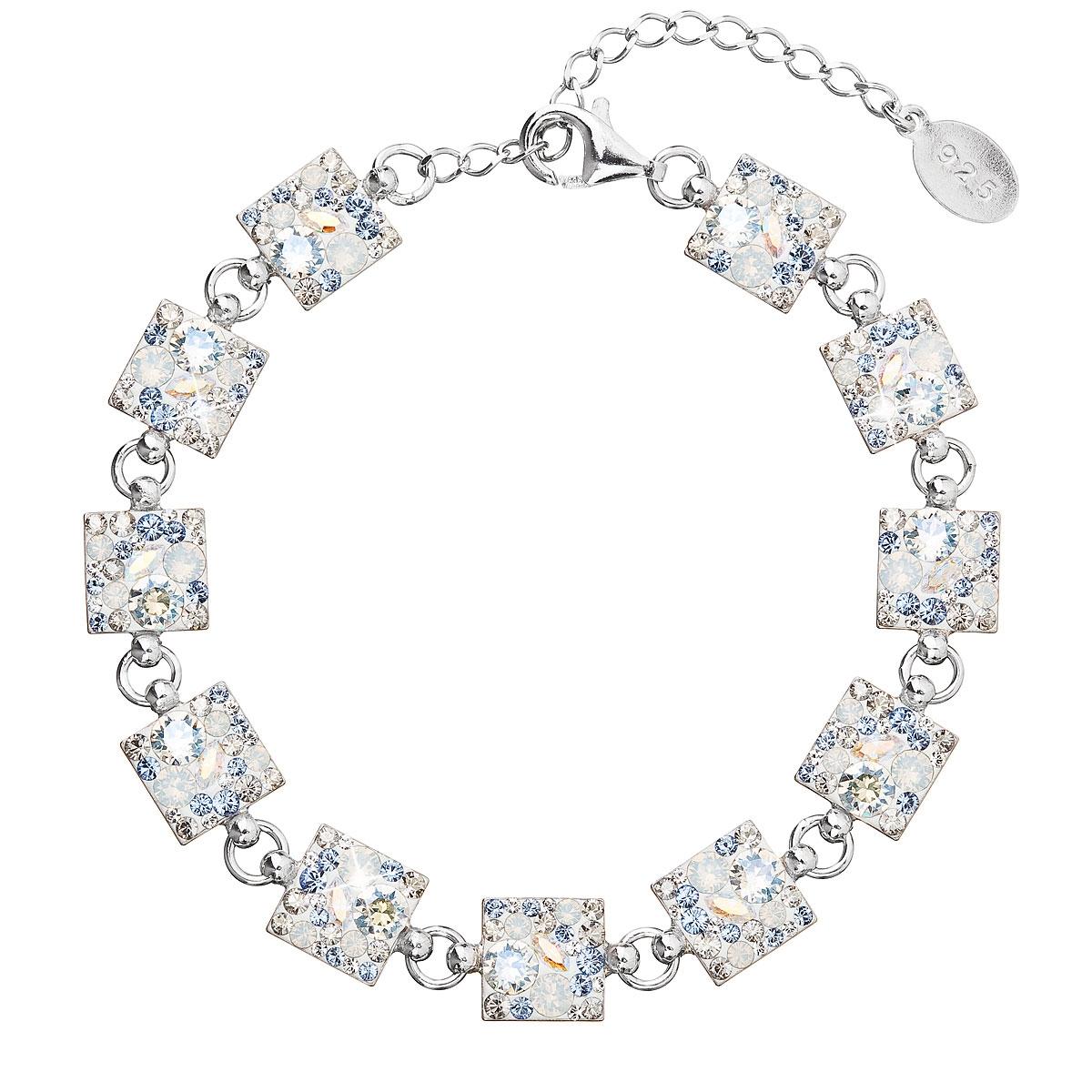 Strieborný náramok s kryštálmi Crystals from Swarovski ® Light Sapphire