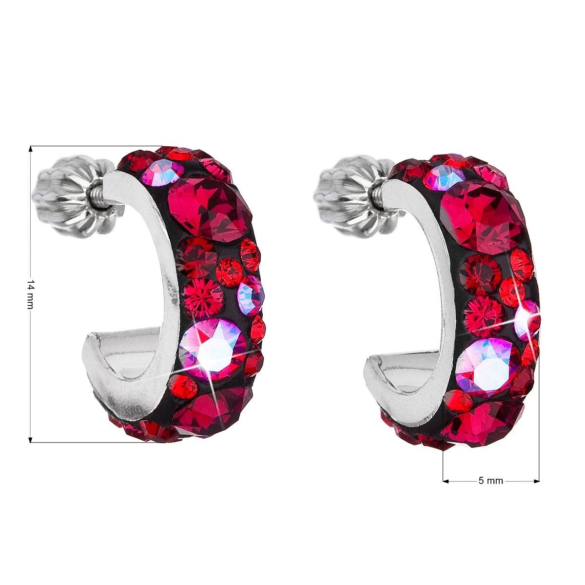 Stříbrné náušnice kruhy s krystaly Crystals from Swarovski®, Cherry EG2031-CH