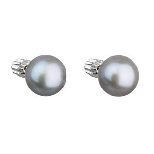 Stříbrné náušnice pecky s šedou říční perlou