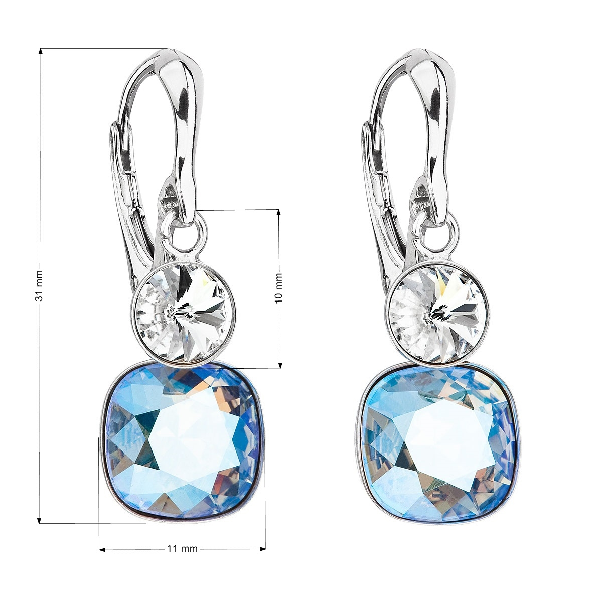 ebbc8de4a Strieborné náušnice s kameňmi Crystals from Swarovski ® Crystal, Light  Sapphire Shimmer