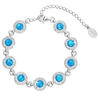Stříbrný náramek s krystaly Crystals from Swarovski® a modrými opály