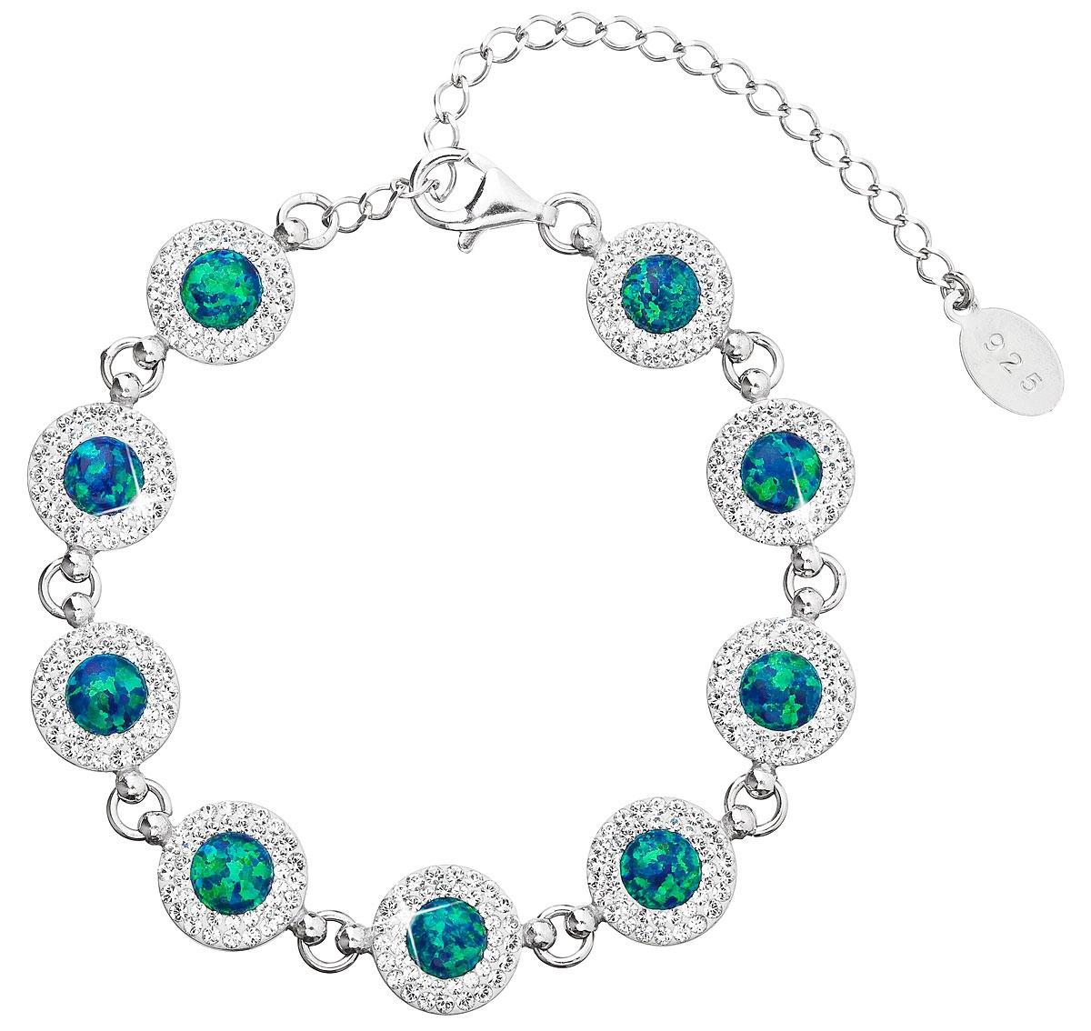 Stříbrný náramek s krystaly Crystals from Swarovski® a zelenými opály