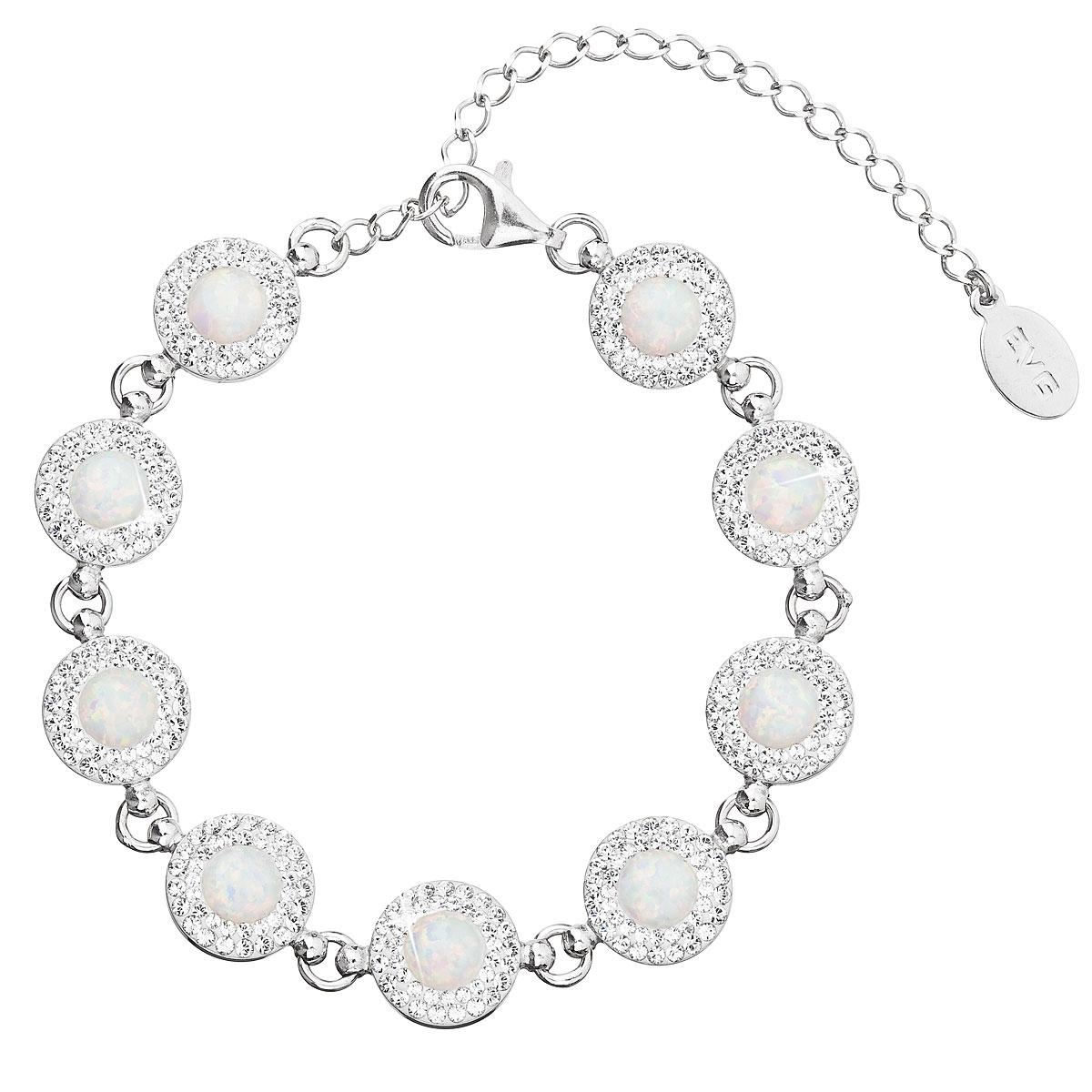 Stříbrný náramek s krystaly Crystals from Swarovski® a bílými opály EG7232-WH