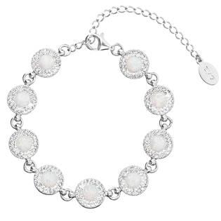 Stříbrný náramek s krystaly Crystals from Swarovski® a bílými opály