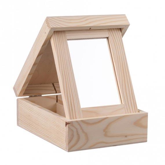 Drevená šperkovnica so zrkadielkom