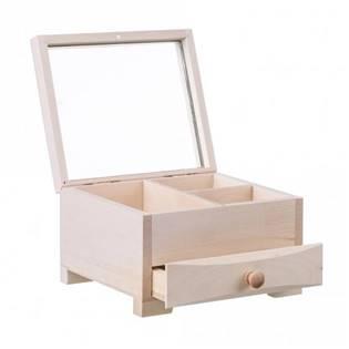Dřevěná šperkovnice se zásuvkou a zrcátkem