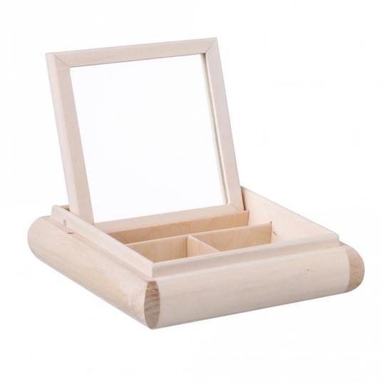 Drevená krabička - šperkovnica so zrkadielkom