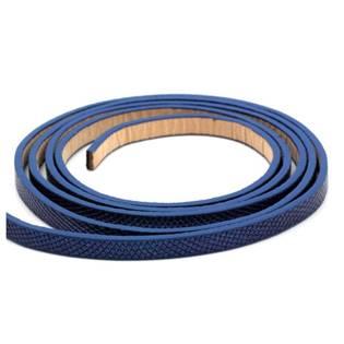 Plochá šňůra ze systetické kůže, modrá barva, šíře 6 mm