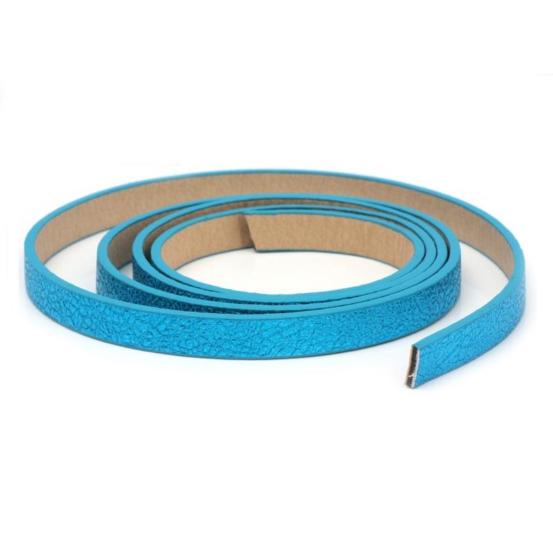 Plochá šnúra zo systetickej kože, modrá farba, šírka 10 mm