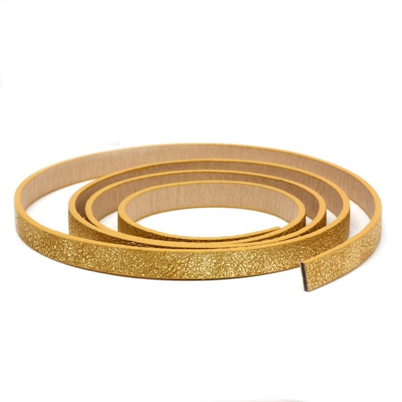 Plochá šnúra zo systetickej kože, zlatá farba, šírka 10 mm