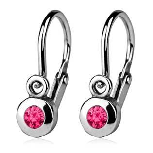 Šperky4U Dětské náušnice stříbrné, tmavě růžové zirkony - CS1210-F