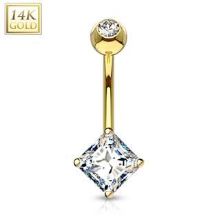Zlatý piercing do pupíku - čtvercový zirkon, Au 585/1000
