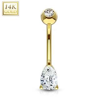 Zlatý piercing do pupíku - zirkon ve tvaru kapky, Au 585/1000