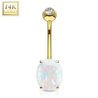 Zlatý piercing do pupíku s opálem, Au 585/1000