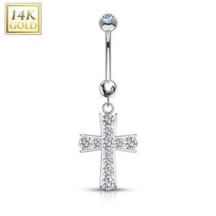Zlatý piercing do pupíku - kříž, Au 585/1000