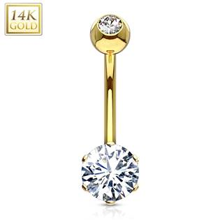 Zlatý piercing do pupíku, čirý zirkon, Au 585/1000