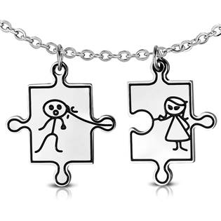 Partnerské přívěšky chirurgická ocel puzzle - 2 kusy